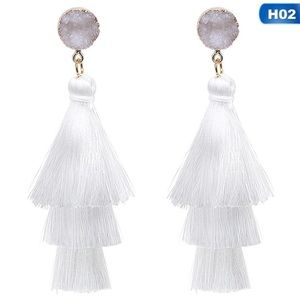 New Anthro Tassel White Earrings
